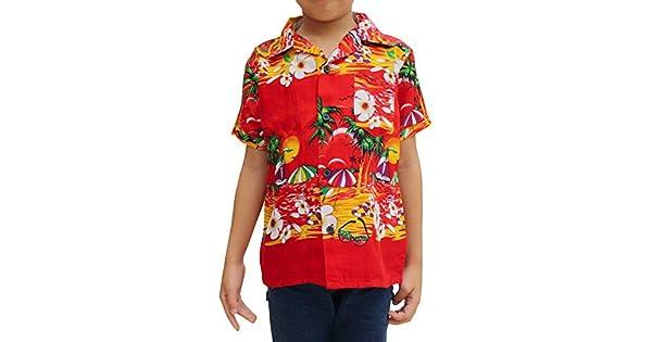 Raan Pah Muang Childrens Hawaiian Shirt in Summer Printed Rayon Paisley Art