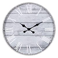 "Patton Wall Decor 28"" Galvanized Metal Gray Washed Wood Plank Roman Numeral Round Wall Clock, Grey"