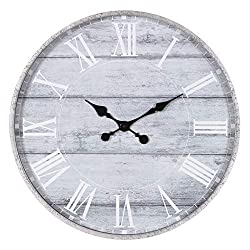 Patton Wall Decor 28 Galvanized Metal Gray Washed Wood Plank Roman Numeral Round Wall Clock, Grey