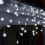 70 LED Cool White Snowflake Icicle Lights, 7.5', White Wire LED Snowflake Lights White Icicle Lights Snowflake Decorations
