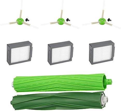 For iRobot Roomba E5 E6 i7 Vacuum Filters HEPA Green Cleaner Side Roller Brushes
