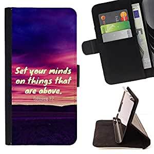BullDog Case - FOR/Samsung Galaxy S5 V SM-G900 / - / COLOSSIANS 3:2 SET YOUR MINDS ON THINGS THAT ARE ABOVE /- Monedero de cuero de la PU Llevar cubierta de la caja con el ID Credit Card Slots Flip funda de cuer