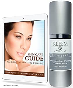 Kleem Organics Anti Aging Vitamin C Serum for Face with Ferulic and Hyaluronic Acid. The No. 1Italian Anti Wrinkle Serum and Dark Spot Corrector. Money Back Guarantee. Cruelty Free