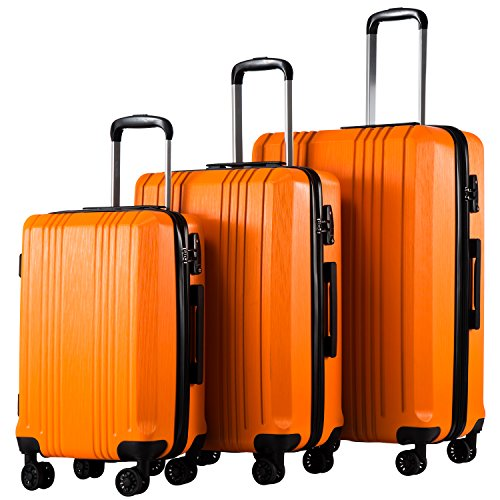 Coolife Luggage Expandable Suitcase 3 Piece Set with TSA Lock Spinner 20in24in28in (orange3) by Coolife