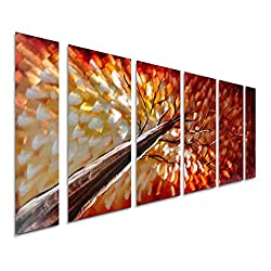 Pure Art Gazing Skyward at Sunset Metal Wall Art, Large Colorful Metal Wall Art Decor in Abstract Botanical Design, 3D Wall Art for Modern and Contemporary Decor, 6-Panels 24x 65