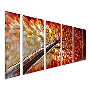 """Pure Art Gazing Skyward at Sunset Metal Wall Art, Large Colorful Metal Wall Art Decor in Abstract Botanical Design, 3D Wall Art for Modern and Contemporary Decor, 6-Panels 24""""x 65"""""""