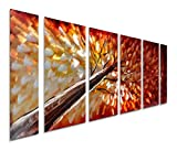 Pure Art Gazing Skyward at Sunset Metal Wall Art, Large Colorful Metal Wall Art Decor in Abstract Botanical Design, 3D Wall Art for Modern and Contemporary Decor, 6-Panels 24''x 65''
