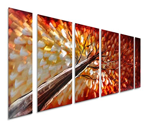 Pure Art Gazing Skyward at Sunset Metal Wall Art, Large Colorful Metal Wall Art Decor in Abstract Botanical Design, 3D Wall Art for Modern and Contemporary Decor, 6-Panels 24