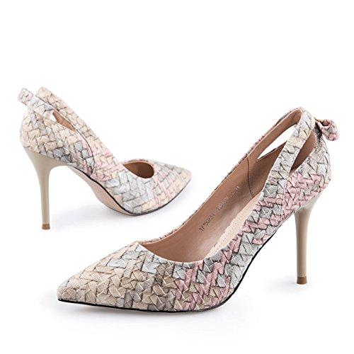 Creux Tisser Talons Talon Lady Pointes à Hauts Chaussures Printemps Minces A Chaussures O4qUwa