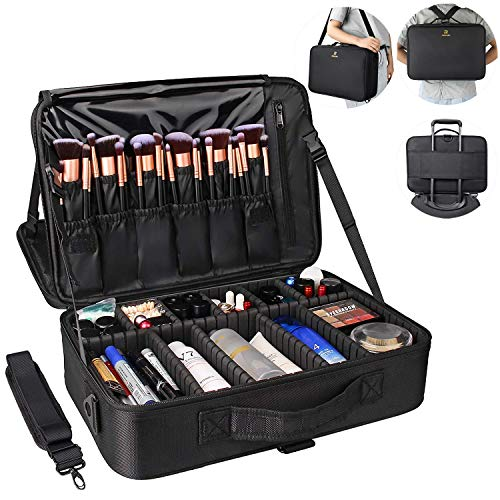 MONSTINA Large Capacity Makeup Case 3 Layers Cosmetic Organizer Brush Bag Makeup Train Case Makeup Artist Box for Hair…
