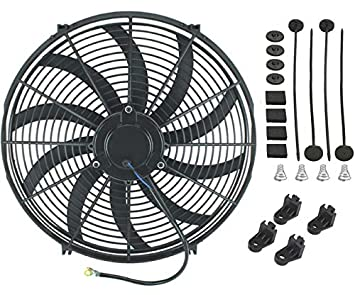 American Volt Reversible Electric Engine Fan 12V Radiator Condenser Cooler High Performance Motor Air Flow Power CFM 14 Inch