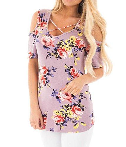 LittleLittleSky Womens Sexy Floral Print Crisscross Neck ...