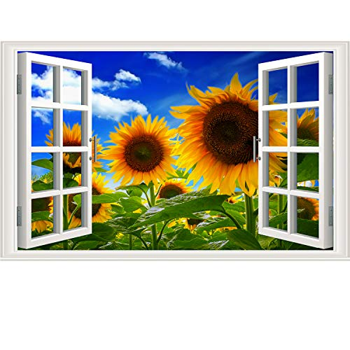 3D Sunflower Wall Sticker Fake Windows Wall Sticker Removable Sea of Sunflower Faux Windows Wall Sticker Vinyl Self-Adhesive Wild Landscape Wall Mural Stickers for Bedroom Living Room ()