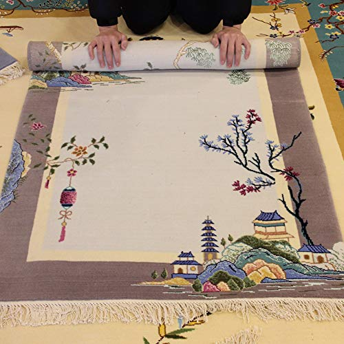 Art Chinese Deco Rug - YILONG CARPET 3'x4.7' Vintage Wool Carpet Handmade Art Deco Oriental Chinese Rug