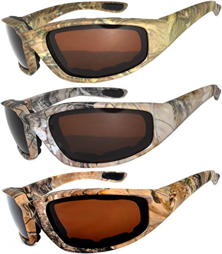 Womens Pink Padded Foam Motorcycle Biker Glasses Goggles 99% UV protection (Camo_Brown_Ls_3p, Colored) (Ls Protection)
