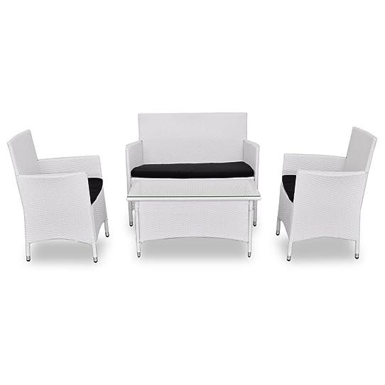 Salon de jardin blanc en résine tressée chaises table canapé ...