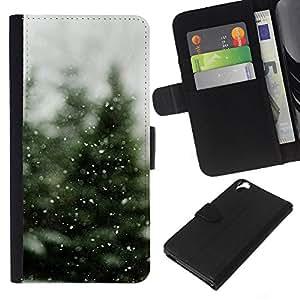 KLONGSHOP // Tirón de la caja Cartera de cuero con ranuras para tarjetas - Árbol de navidad de la nieve del invierno - HTC Desire 820 //