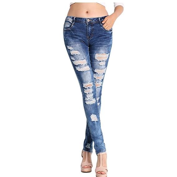 5ea953a98388 NASKY Damen Jeans Hosen Mit Löchern Zerrissene Skinny Jeanshosen High Waist  Slim Stretch Straight Hosen