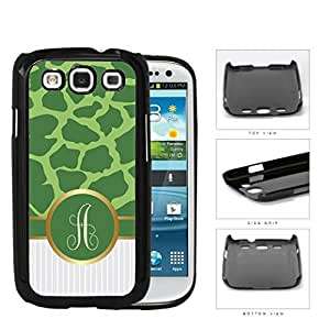 Customized Light and Dark Green Giraffe Animal Print Pattern and White Gray Vertical Stripes on Bottom with Green Monogram in Center Outlined in Gold Hard Plastic Snap On Cell Phone Case Samsung Galaxy S3 SIII I9300