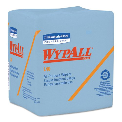 (WypAll 05776 L40 Wiper, 1/4 Fold, Blue, 12 1/2 x 12, 56 per Box (Case of 12 Boxes))