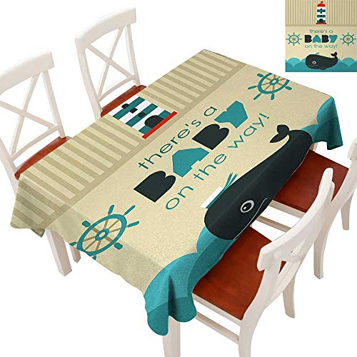 Rectangle Tablecloth Washable Polyester - Great for Buffet Table, Parties, Holiday Dinner, Wedding & More Baby on the Way Message with Marine Theme Set Up Dolphin Wheel Teal Dark Blue Khaki 70