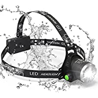 Sungluber 3 Modes Waterproof Super Bright LED Headlight with Rechargeable Battery