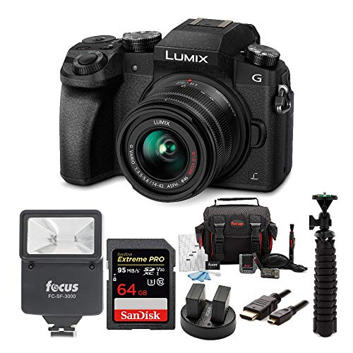 Panasonic LUMIX G7 Mirrorless Camera with 14-42mm Lens and SanDisk 64 SD Card Bundle (7-Items)