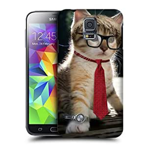 Case Fun Case Fun Cat in a Tie Snap-on Hard Back Case Cover for Samsung Galaxy S5 Mini (G800F Duos G800H)