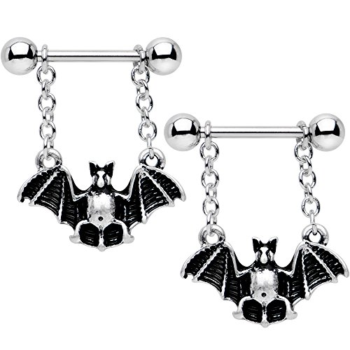 Body Candy Steel Black Gothic Bat Halloween Dangle Nipple Ring Set of 2 14 Gauge (Body Dangle Nipple Ring)