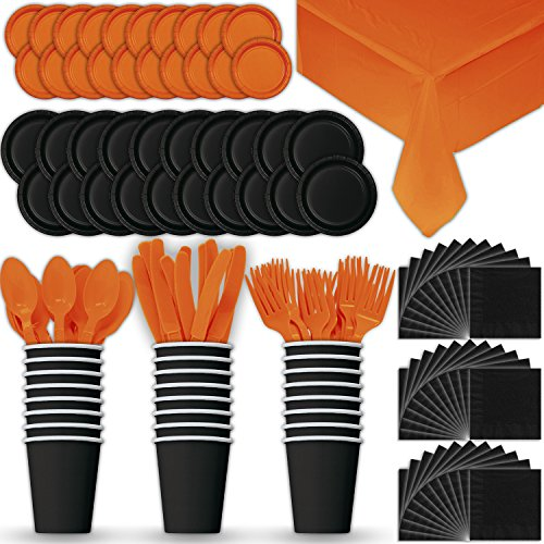 Paper Tableware Set for 24 - Black & Orange - Dinner and Dessert Plates, Cups, Napkins, Cutlery (Spoons, Forks, Knives), and Tablecloths - Full Two-Tone Party Supplies Pack -