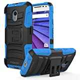 Moto G 3rd Gen Case - MoKo Full Body Rugged Holster Phone Cover with Swivel Belt Clip for Motorola Moto G 3rd Gen 2015 Smartphone, BLUE (Not for Moto G Previous Generations)