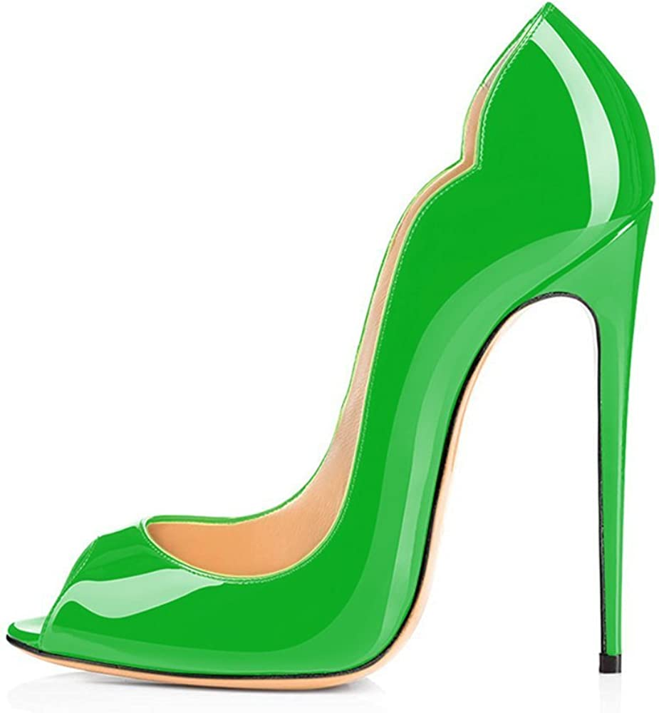 Womens Shoes Peep Toe Wave Shape Stiletto Heels Pumps-Green-13