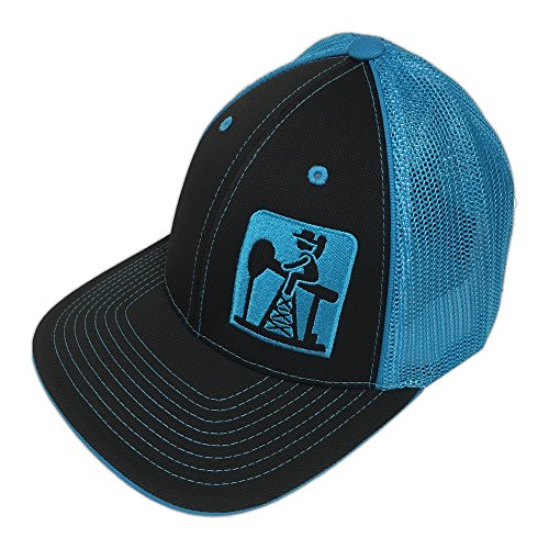 Pump Jack Cowboy Brand Black/Neon Blue Reverse Out Pumpjack Logo Flexfit Hat - L/XL -