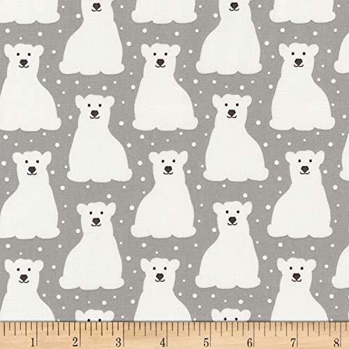 Kaufman Arctic Polar Bears Grey Fabric by The Yard