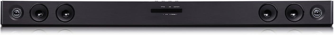 LG SJ3 - Barra de Sonido inalámbrica 2.1 (Potencia total 300 W, Subwoofer inalámbrico 200 W, Dolby Digital, DTS Digital Surround, Bluetooth 4.0 BLE, USB, Cable óptico, ASC, TV Sound Sync) Color Negro
