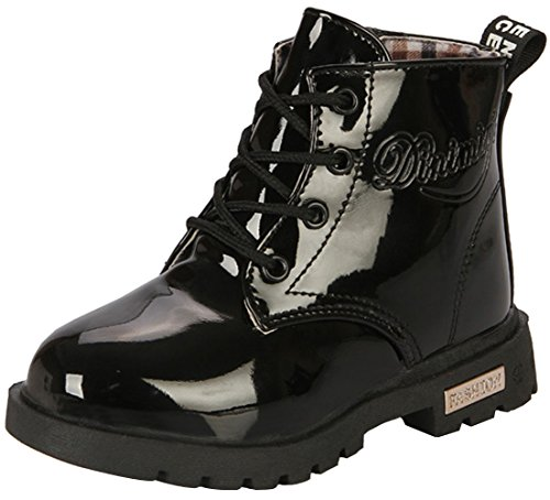 PPXID Boy's Girl's Waterproof Lace-Up Boots(Baby Boy/Baby Girl/Toddler/Little Kid/Big Kid)-Black 2.5 US Size