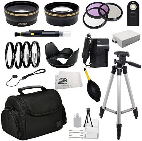 T3i 58MM Accessory Kit for Canon T2i T4i 4 Piece Macro Filter Kit 2 Extended Life Replacement Batteries +1,+2,+4,+10 LP-E8 UV-CPL-FLD T5i Includes 3 Piece Filter Kit AC//DC Rapid Charger
