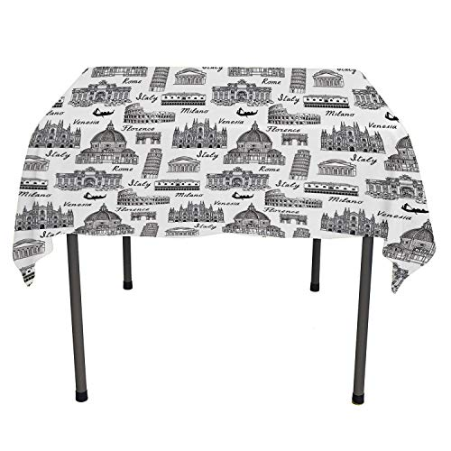 Flyerer City Picnic Cloth Monochrome Sketch Style Famous Places from Italy Rome Milano European Architecture Black White tablecloths Party Decorations Rectangle Tablecloth 60 by 120 inch