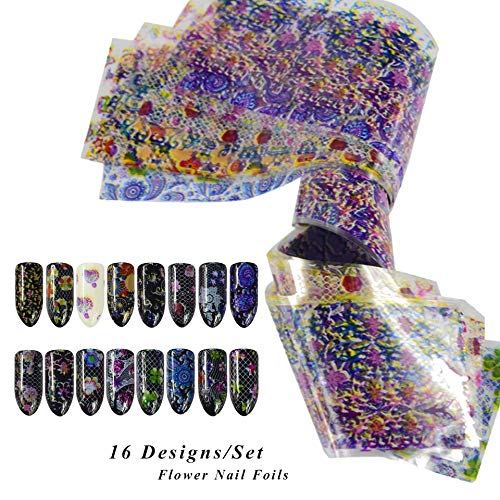 16 sheets Pink flower petal chameleon laser glitter NAIL FOILS psychedelic retro rainbow tie dye trippy holographic magic starburst nail sticker 3d nail art tattoo decals acrylic nail vinyl nail stamp