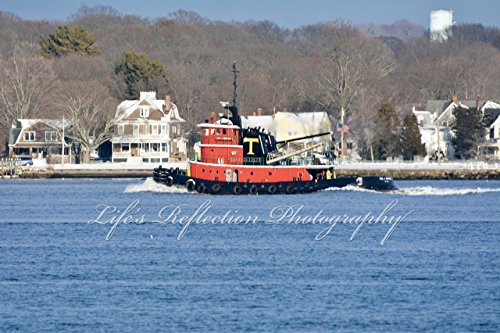 - Red Tugboat, Landscape Photography, Wall Decor, Fine Art, Tugboat Photo, Home Decor