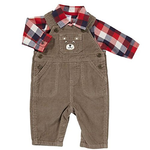 - Carter's Infant Boy Brown Corduroy Bear Outfit with Overalls Red Plaid Shirt 3m