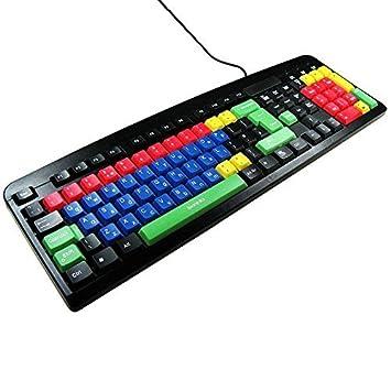 Teclado USB y PS2 Qwerty Mayúscula & Minúscula Color para Los Niños / Excelente para Los