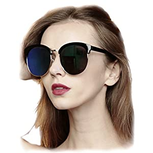 O2 Eyewear 97018 Premium Oversize Cats eye Womens Mens Mirror Funky Flat Sunglasses (BLACK, BLUE / size XL)
