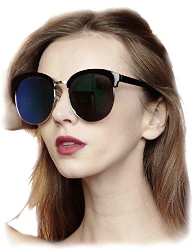 O2 Eyewear 97018 Premium Oversize Cats eye Womens Mens Mirror Funky Flat Sunglasses (BLACK, BLUE / size - By Size Order Sunglasses