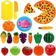 AlexBasic Kitchen Play Food Toys Cutting Fruits Vegetables Pretend Food Play Set Educational Toy Accessories for Boys Girls Toddlers 24 pcs Set