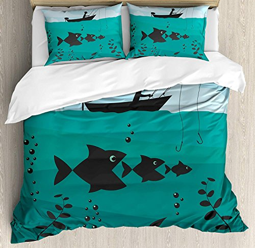 Full Size Fishing 3 PCS Duvet Cover Set, Single Man in Boat Luring with Bobbins Nautical Marine Sea Nature Funky Image Print, Bedding Set Bedspread for Children/Teens/Adults/Kids, Blue Teal -