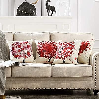 MIULEE Juego de 4 Lino Cojines Árbol Rojo Funda de Cojín Almohada Caso de Decorativo Cojines para Sala de Estar sofá Cama Coche 18