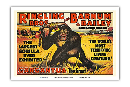 Gargantua, The Great Gorilla - Ringling Brothers and Barnum & Bailey Circus - Greatest Show on Earth - Vintage Circus Poster c.1970s - Master Art Print - 12in x 18in