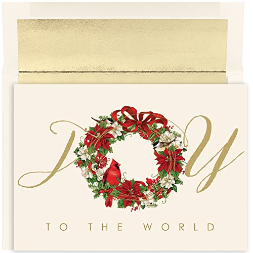 Masterpiece Studios Holiday Collection 18 Cards / 18 Foil Lined Envelopes, Cardinal Wreath