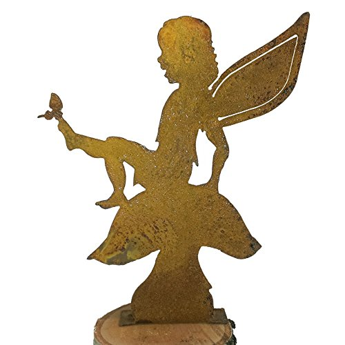 - Elegant Garden Design Fairy on Mushroom, Steel Silhouette with a Rusty Patina